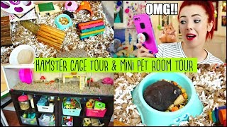 MOVING MY DWARF HAMSTER INTO HIS NEW CAGE & CAGE TOUR! | Mini Pet Room Tour