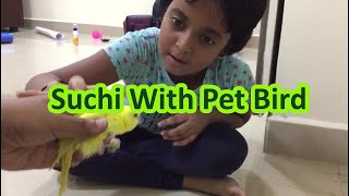 Suchi With Pet Bird | #TanavSuchiKids | Baby Cute Budgie