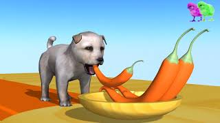 Learn Colors Animals with Puppy Eat Chili Pepper Colors