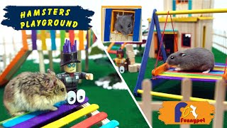 Funny Hamsters in Their Playground.Have fun with them