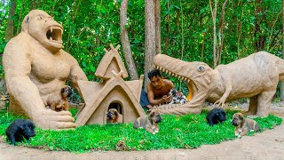 Rescue Newborn Puppies And Build Mud Dog House In King Kong Skull Style