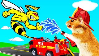 Hamster firefighter police fight to Escape Bee Maze Traps – FUNNY CARTOON Life Of Pets Hamham