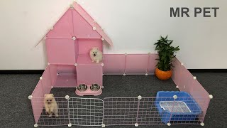 How To Make Dog Villa House For Cute Pomeranian Puppies – DIY HOUSE DOGS – MR PET
