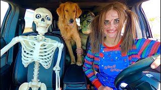 Chucky Surprises Skeleton & Puppy with Car Ride Chase!