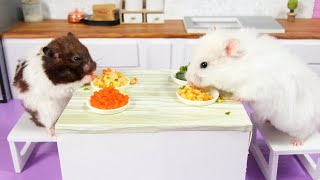 Making Fried Egg Rice with cute Hamsters –  Mini cooking